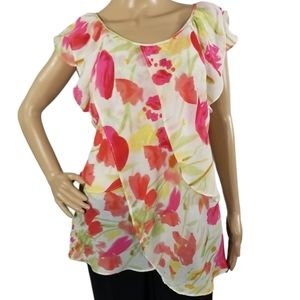 Cato White/Pink Floral Ruffle Tank XL